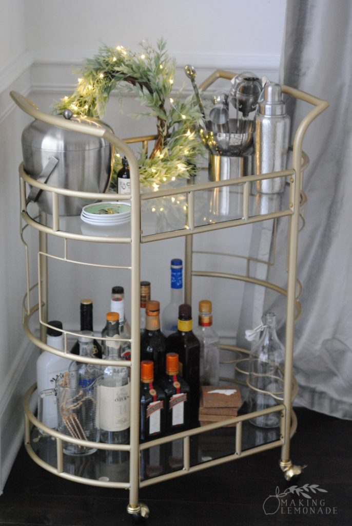 fairy lights on a bar cart