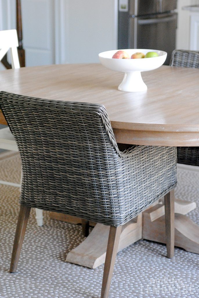 wicker chair in kitchen