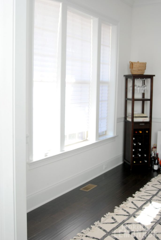 dining room window and wine rack