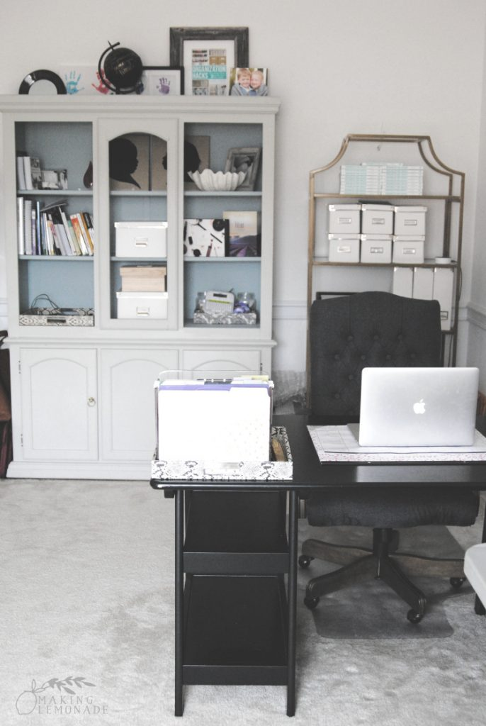 home office with desk and bookcases