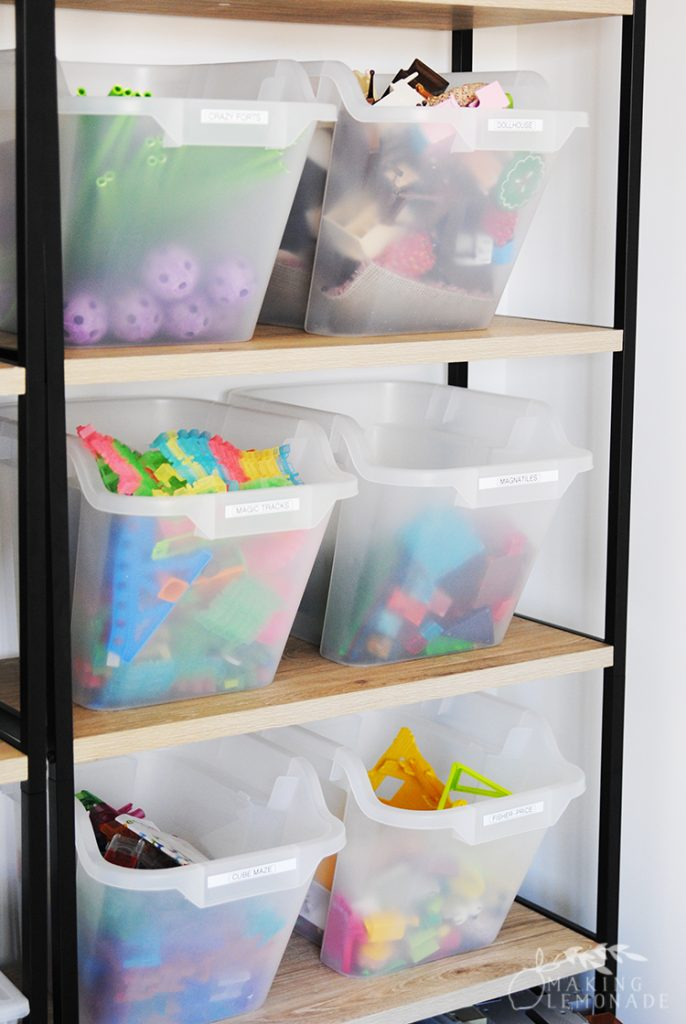 playroom and toy storage bins