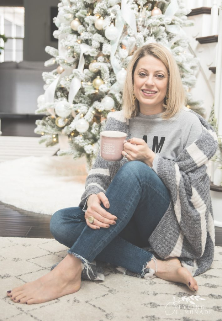 wrapped in cozy blanket with coffee mug
