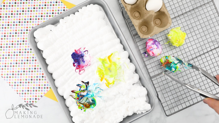 dyeing Easter eggs with shaving cream