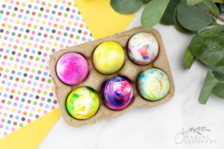 marbled Easter eggs made with shaving cream in a carton