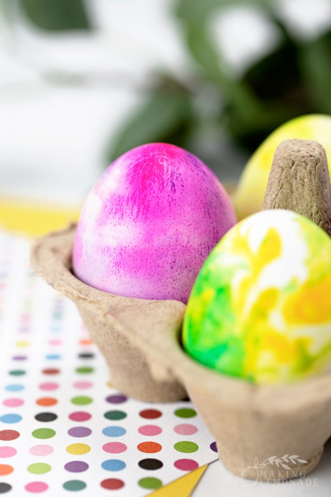 marbled easter eggs made with shaving cream in carton