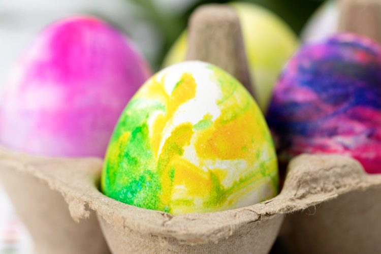 marbled Easter eggs dyed with shaving cream