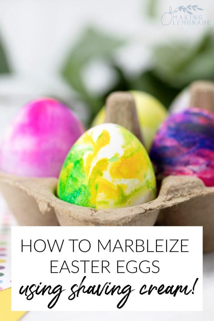 how to make marbled Easter eggs using shaving cream