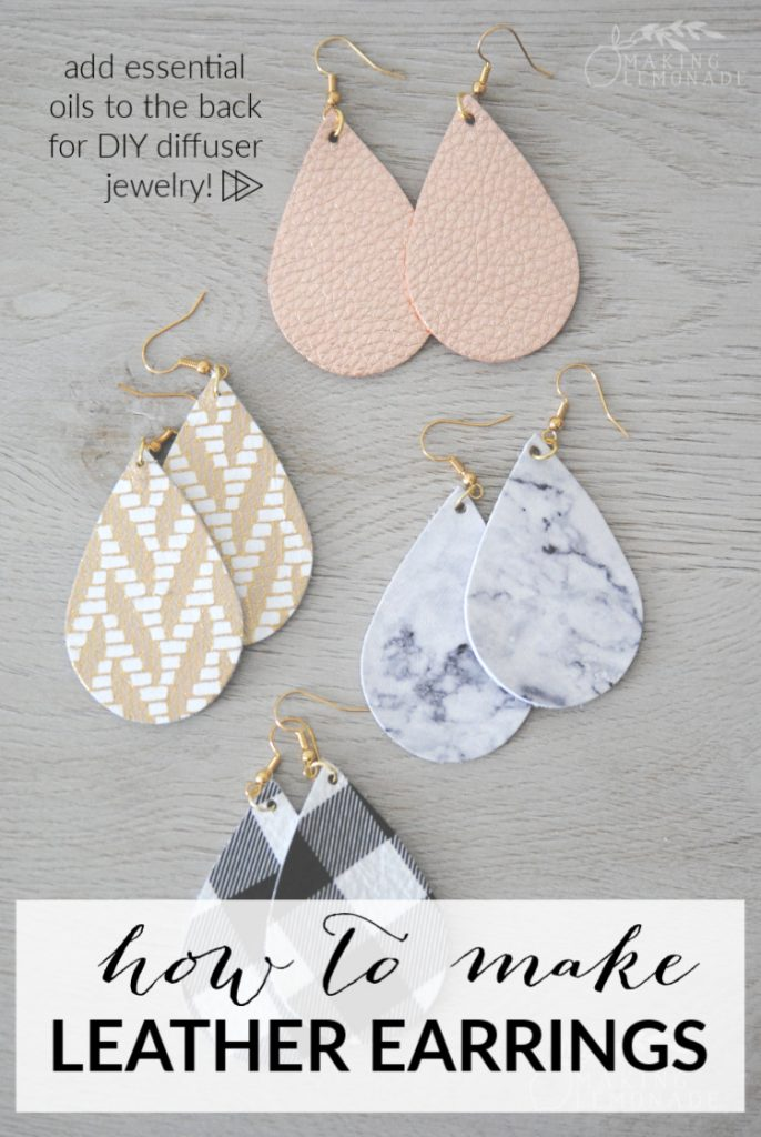 how to make DIY leather teardrop earrings as essential oil diffuser jewelry