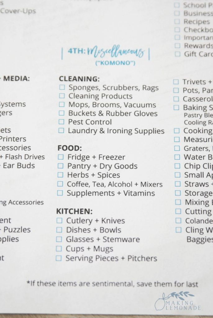 category list in the ultimate KonMari decluttering checklist