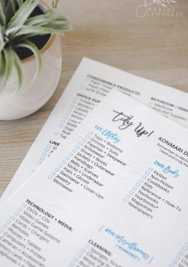 Free Printable KonMari Decluttering Checklist