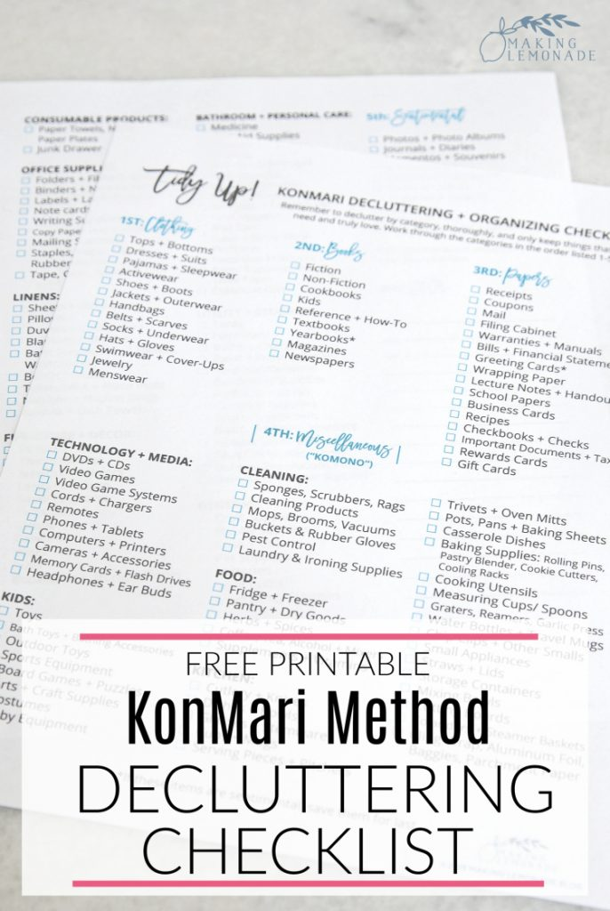 photo of the KonMari Decluttering checklist free printable