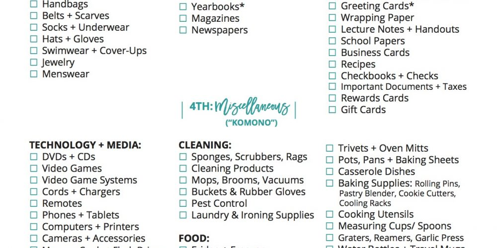copy of The ULTIMATE free printable KonMari Decluttering checklist to tidy up every inch of your home #KonMari #Decluttering