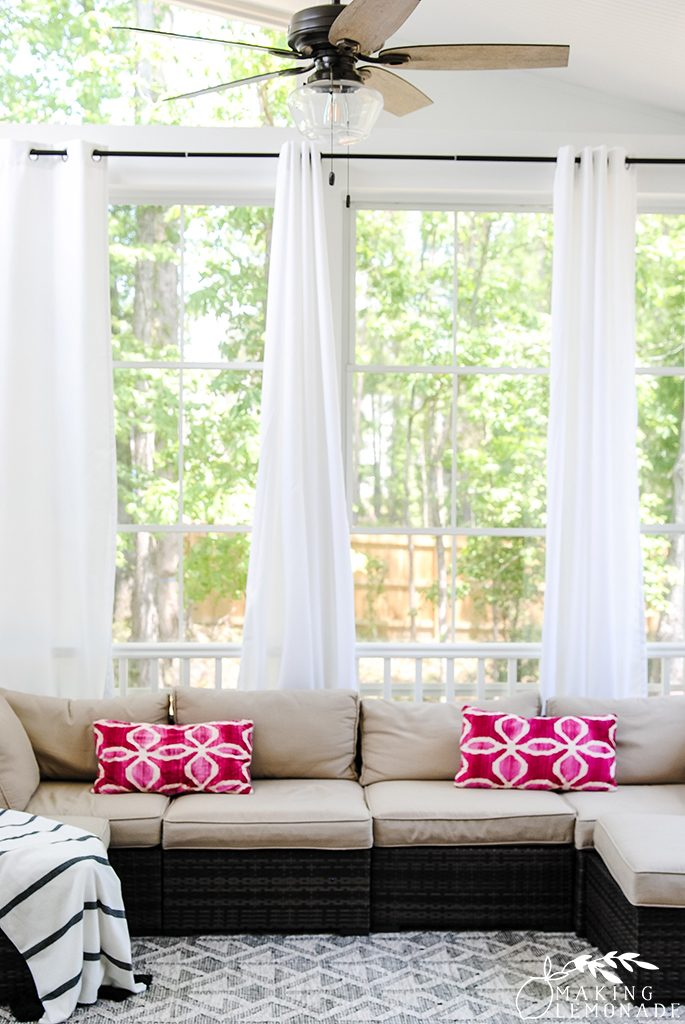 how to hang outdoor curtains on a screened porch