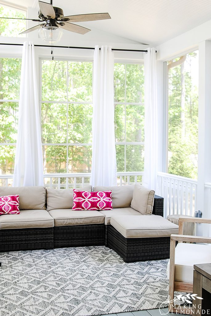 three season screened porch with outdoor curtains