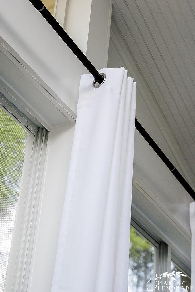 how to hang curtains on an oudoor porch
