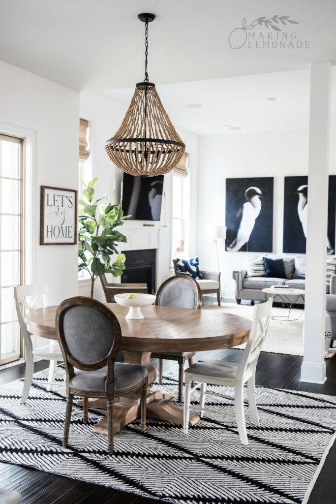 modern farmhouse dining room living room