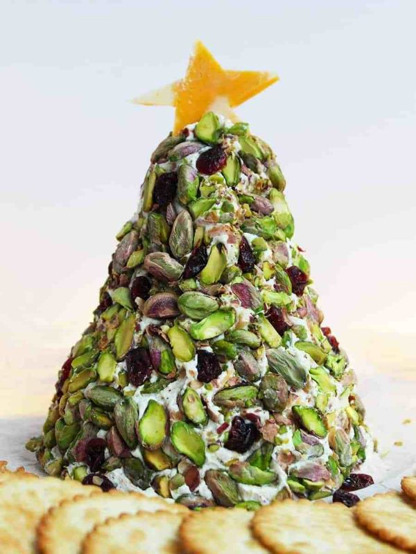 christmas tree cheese ball with cranberries and pistachios