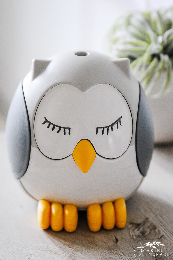 Feathers the Owl essential oil diffuser for kids with plant