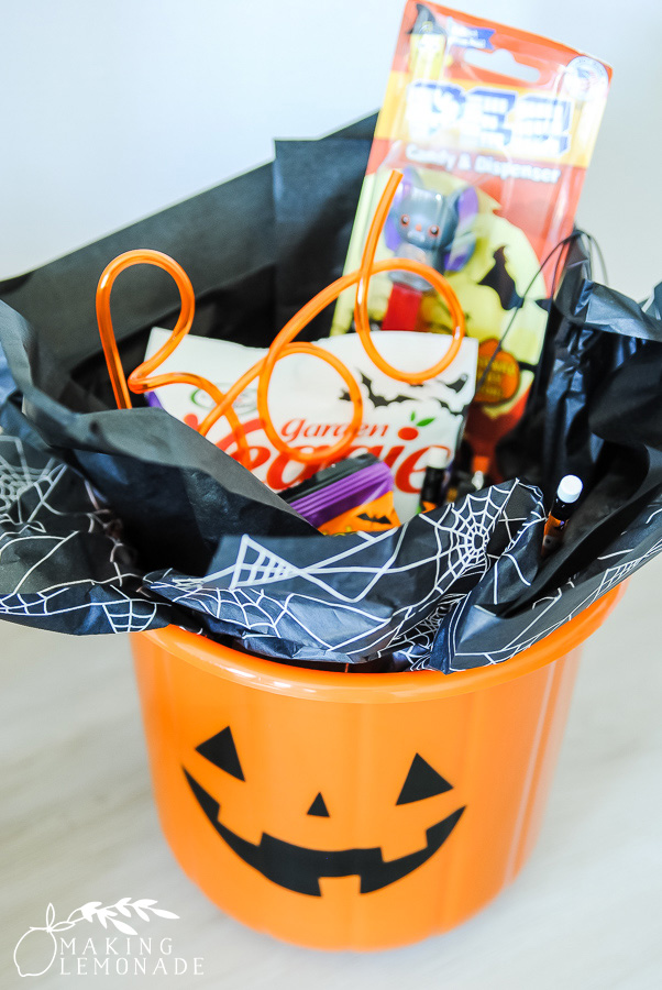 Halloween bucket with treats for neighborhood BOO-ing