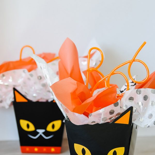Cat Treat Boxes with treats for Halloween BOO printable