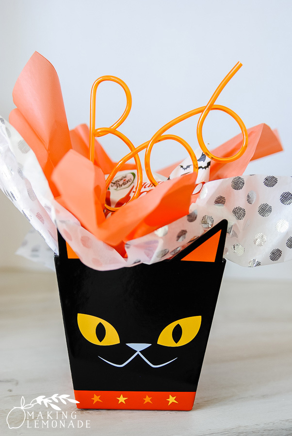 black cat Halloween gift bag with treats