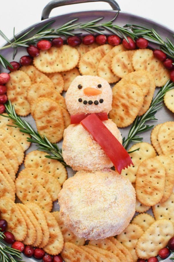 pimento cheese ball snowman