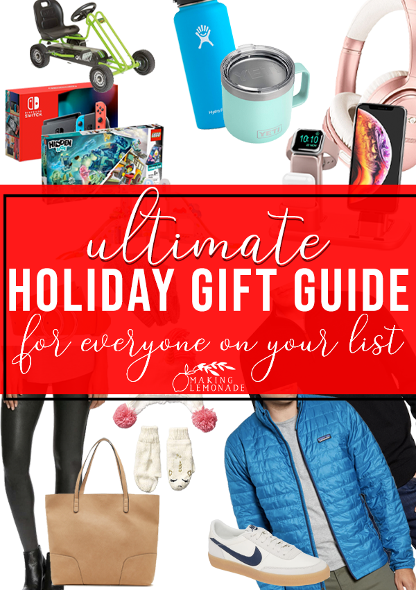 Ultimate Holiday Gift Guide for Everyone On Your Gift List pin with gift ideas