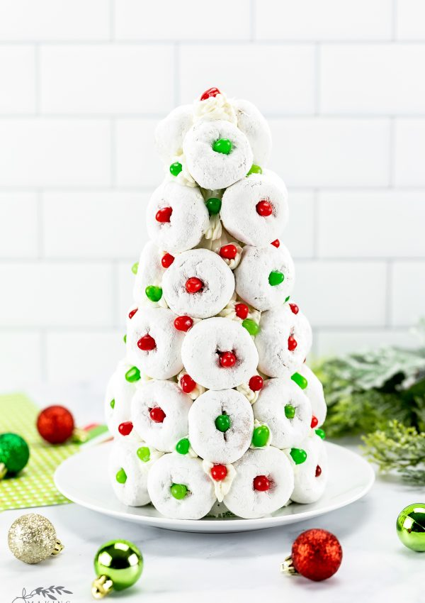 how ot make a holiday doughnut tree