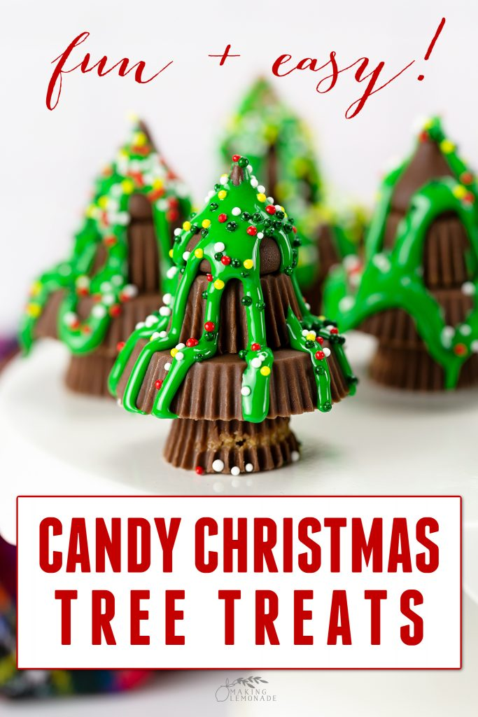 Candy Christmas Tree Treats on white plate