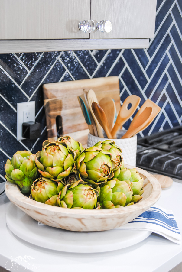 bowl of artichokes in kitchen