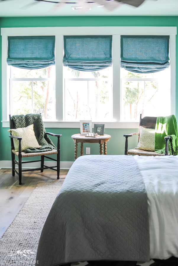 guest bedroom with windows in HGTV dream home