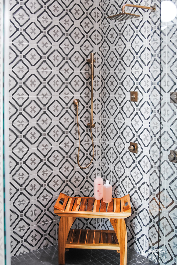 Insider's Tour of the HGTV Dream Home bathroom shower with patterned tile