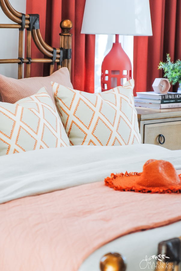 orange bedding in HGTV Dream Home