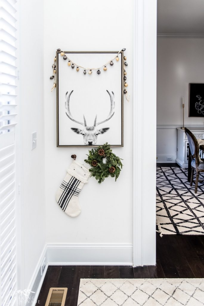 christmas wall art with garland