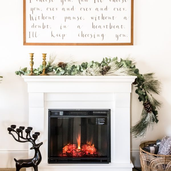 cozy electric fireplace in master bedroom