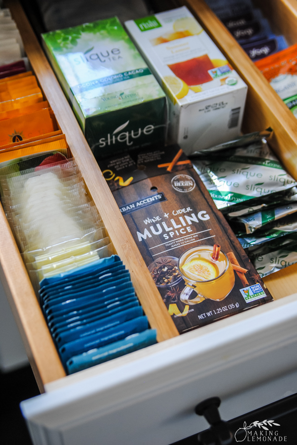 drawer with tea bags
