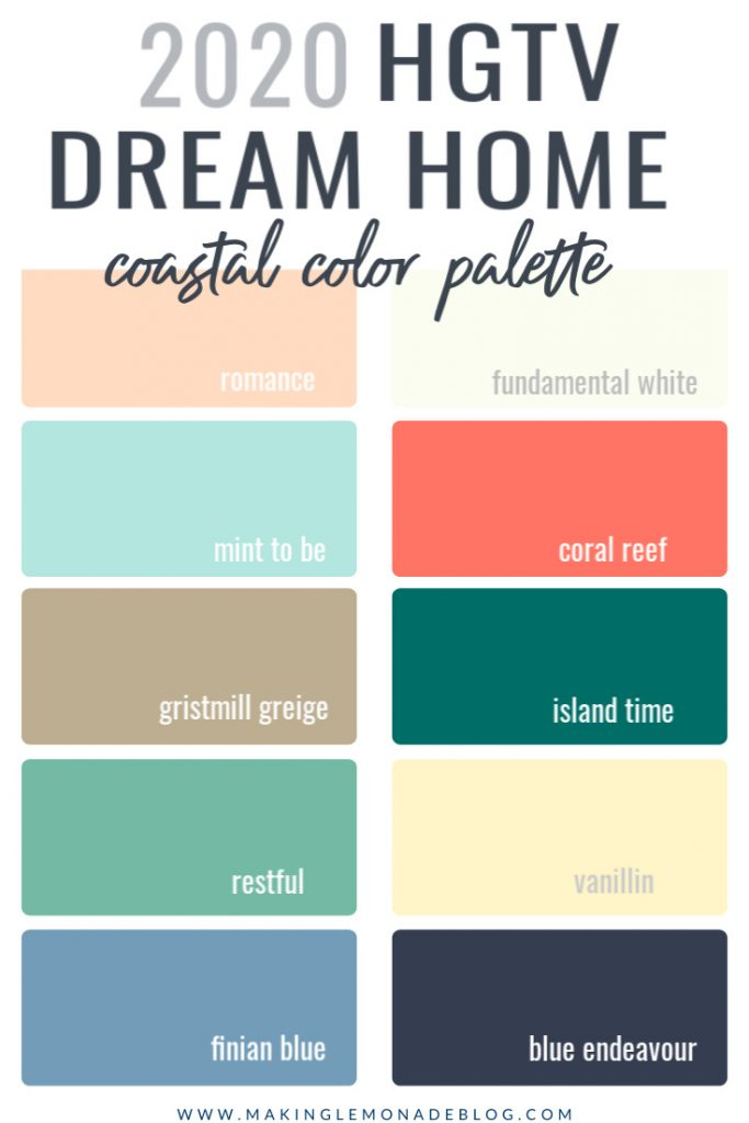 paint colors used in the HGTV Dream Home