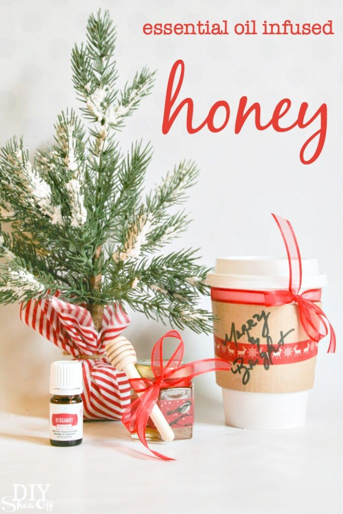 essential oil infused honey with cup