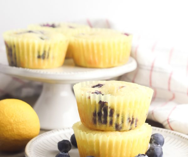 lemon blueberry muffins on plate