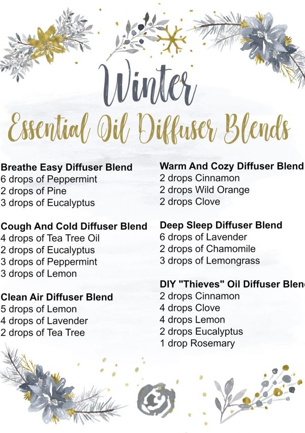 winter essential oils diffuser blends printable