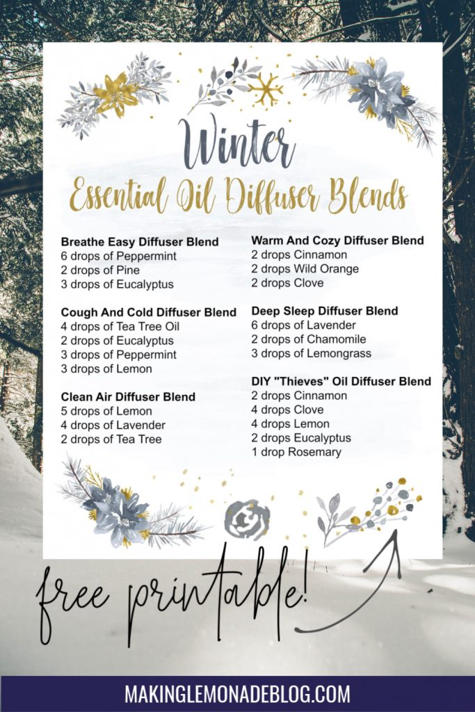 winter diffuser blends printable against backdrop of winter trees