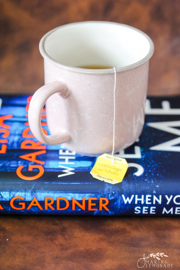 mug of tea on book