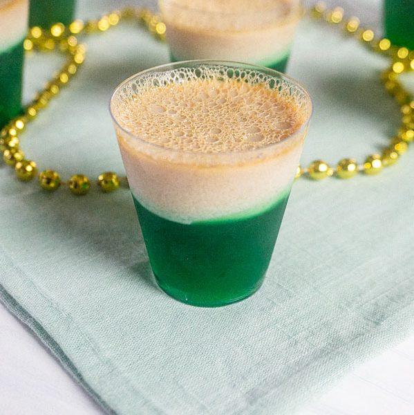green jello shots with Bailey's Irish Cream