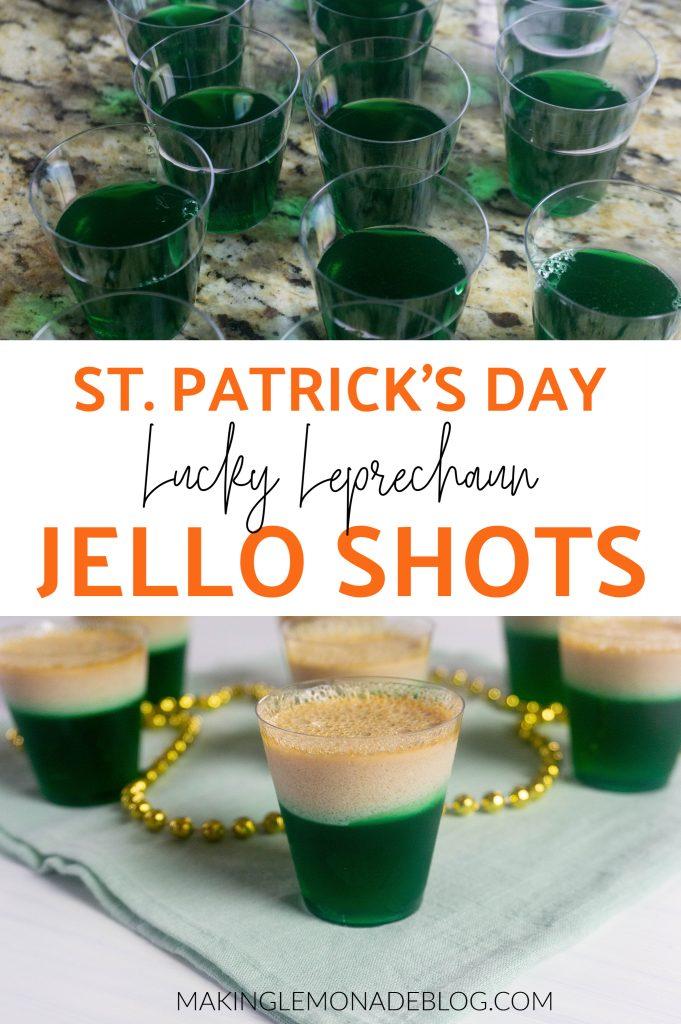 st. patrick's day jello shots collage