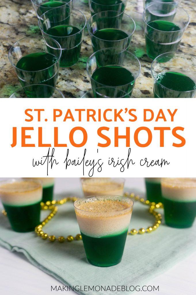 st. patrick's day green jello shots collage