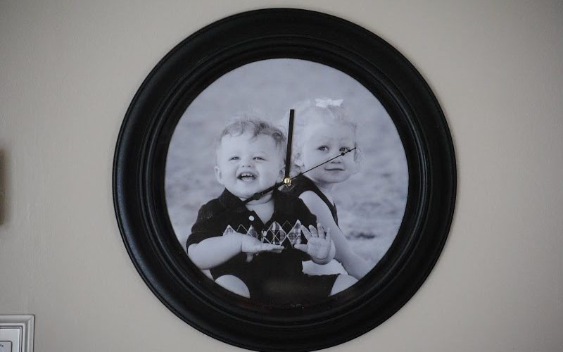 clock with photo on face