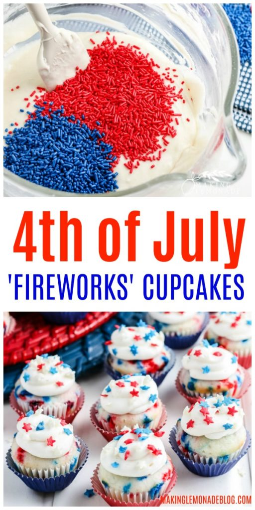 red white and blue cupcakes with sprinkles