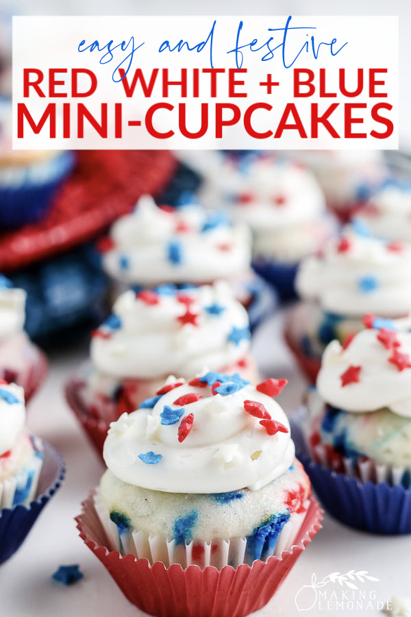 red white and blue mini-cupcakes