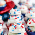 red white and blue mini-cupcakes with sprinkles