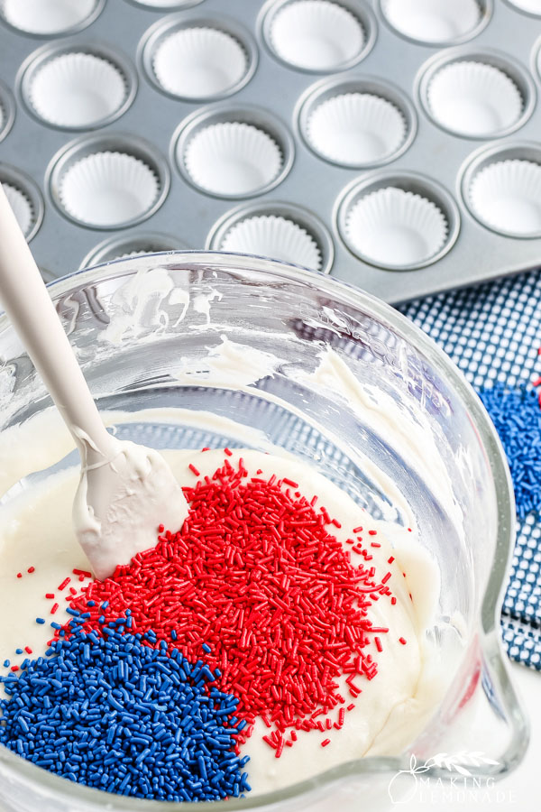 cupcake batter with sprinkles